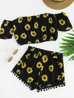 Shop Bardot Sunflower Print Crop Top With Pom Pom Shorts online. SheIn offers Bardot Sunflower Print Crop Top With Pom Pom Shorts & more to fit your fashionable needs. Cute Comfy Outfits, Cute Girl Outfits, Teenage Outfits, Cute Summer Outfits, Outfits For Teens, Pretty Outfits, Stylish Outfits, Girls Fashion Clothes, Teen Fashion Outfits