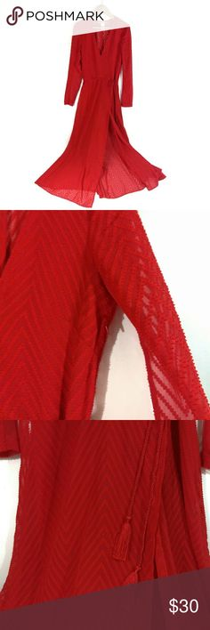 H&M True Red Long Sleeve V Neck Sheer Back Maxi Just in time for Valentine's day! EUC! Worn once for an HR to a Christmas event. One pin head sized pen mark on sleeve/not noticeable when wearing. See pics. Otherwise perfect.   Size 2 (equivalent to an XS/0.)  Measurement in cmts!! A show stopper! Received so many compliments! Long sheer sleeves with mesh cutout down inside center arm, mid v neck, sheer back/skirt from knee down, w/ waist high slit. Lined in front + knee length slip. Mini…