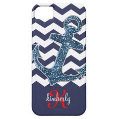 Navy Blue Chevron and Glitter Anchor iPhone case- Personalize it with your name
