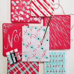 Make your own wrapping paper with paint and this cheap paper.