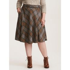 Torrid Outlander Tartan Skirt (280 CNY) ❤ liked on Polyvore featuring skirts, plus size tartan skirt, high waisted knee length skirt, plaid skirt, high-waist skirt and high waisted swing skirt