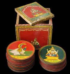 Ganjifa Indian Playing Cards - Complete Dashavatara Ganjifa Playing Card Set & Box Sawantwadi, Maharashtra, India early 20th century  height of box: 9cm, depth of box: 9.6cm, width of box: 9cm diameter of each card: 7cm  This set is complete with 120 playing cards.
