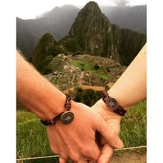 The Point the Way Clasp and Leather Bracelet look great on him and her in this breathtaking photo taken at Machhu Picchu! #jamesavery