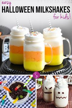 Easy Halloween Milkshake Recipes for Kids: From Worms and Vampires to Ghosts and Pumpkins we have all the yummy shakes you need for Halloween!