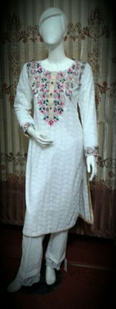 chiken cotton with ari embroidery cotton trouser chiffon dupata in only1800 pkr hole sale