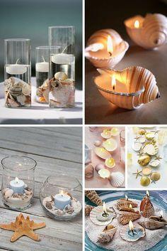Ideas para decorar en verano con conchas y velas. ¡Cuidado con las llamas! Precaución ante todo.