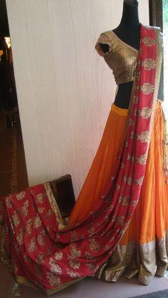 Sangeet, Mehandi, Lehenga, orange and pink Indian Attire, Indian Ethnic Wear, Indian Dresses, Indian Outfits, Mehendi Outfits, Sangeet Outfit, Yellow Lehenga, Red Lehenga, Desi Clothes