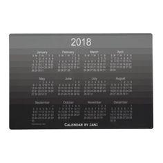 2018 Black Shades Laminated Calendar By Janz Placemat