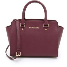 MICHAEL Michael Kors Selma Medium Top Zip Satchel (£195) ❤ liked on Polyvore featuring bags, handbags, purses, merlot, top zip satchel, purple satchel handbag, genuine leather handbags, satchel handbags and real leather handbags