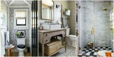 20 Decor Ideas That Make Small Bathrooms Feel Bigger  - HouseBeautiful.com - -love the wallpaper and corner trim...cute!