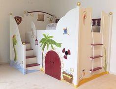 Kinderhochbett für zwei  wunderschönes design vom hochbett mit rutsche | möbel | Pinterest ...