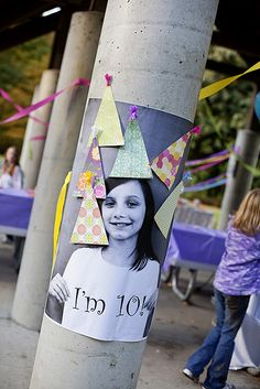 """pin the hat on the birthday girl"" -blow up a huge picture on paper at Kinko's and make hats out of scrapbook paper."