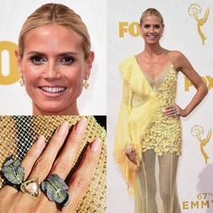 All in #yellow by @heidiklum with help of @lorraineschwartz #jewels and @versace_official #canary #diamond #earrings canary #triangle #ring and matching diamonds #pave leaf #rings Todo en #amarillo por #HeidiKlum con la ayuda de #LorraineSchwartz y #Versace #pendientes #anillos #triangulo y con hojas #diamantes amarillo #canario #DeJoyaEnJoya #FromJewelToJewel #InstaDiamonds #fancy #FancyDiamond #RedCarpet #emmys #emmys2015 #celebrity #luxury #pavé #InstaJewels