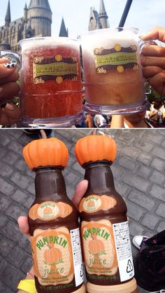 Butter Beer and Pumpkin Juice at The Wizarding World of Harry Potter™ at Universal Studios in Osaka, Japan. Universal Studios Florida, Universal Orlando, Harry Potter Universal, Harry Potter World, Disney World Vacation, Mexico Vacation, Cruise Vacation, Disney Cruise, Vacation Destinations