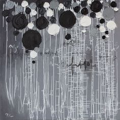 "ARTFINDER: Buds by Trisha Lamoreaux - Original mix media palette knife painting on gallery wrapped canvas.   Painting is large.  47"" x 47""  Large globs of black and white paint on gray grid ..."