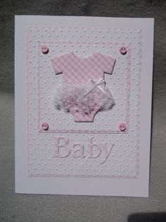 Baby girl card girl baby card baby onesie with tutu baby onesie pink checked onesie pink baby card embossed dimensional poem inside Baby Girl Cards, New Baby Cards, Welcome Baby Girls, Welcome Card, Baby Shower Invitaciones, Diy For Girls, Up Girl, Baby Girl Born, Kids Cards