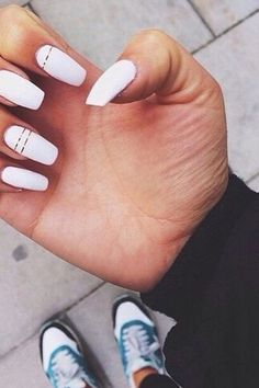 #white #manicure #black #nails #love #nailart #gelnails #nail #naildesign #art #beauty #beautiful #gelpolish #nailswag #style #nailpolish #gel White Nails With Gold, Gold Nails, Diy Nails, Swag Nails, White Manicure, Striped Nails, Gold Stripes, Gel Polish, Nail Art Designs