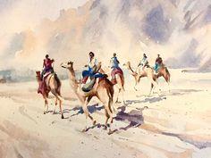 """Five Boys"" watercolour for The New Orientalist Exhibition / Dubai 2016 by Trevor Waugh trevorwaugh.com majlisgallery.com"