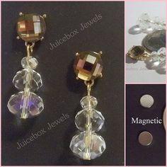 MAGNETIC Earrings Light Brown Rhinestone Clear by JuiceboxJewels
