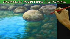 How To Paint Shallow River With Reflections And Underwater Rocks In Acrylic Painting Tutorial Canvas Painting Tutorials, Acrylic Painting Techniques, Painting Videos, Diy Painting, Beginner Painting, Acrylic Painting Rocks, Painting Canvas, River Painting, Acrylic Tutorials