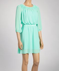 Look what I found on #zulily Mint Smocked Neckline Dress by Paper Doll #zulilyfinds only $22...Also has coral