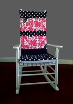 Rocking Chair Cushion Cover   Barber Pink Black Polka Dot