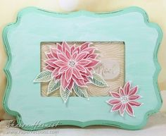 From Sharon Harnist via www.PaperFections.com -- Essentials by Ellen Holiday 2015 Release: Mondo Poinsettia  stamped & heat embossed on vellum & colored with @copicmarker  -- framed holiday artwork.