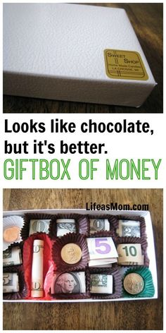 14 Creative Money Gift and Cash Gift Tutorials Easy Gifts, Homemade Gifts, Cute Gifts, Funny Gifts, Valentine Chocolate, Chocolate Box, Birthday Money, Birthday Crafts, Happy Birthday