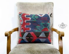 Decorative Patterned Red Blue Turkish Kilim by AnatoliaCollection