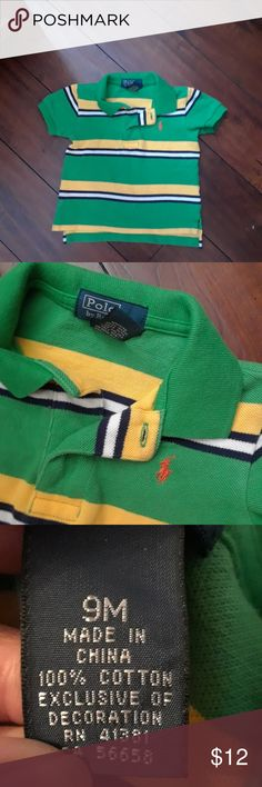 Polo by Ralph Lauren POLO Shirt sz 9mos Like new cotton pique polo shirt from Polo by Ralph Lauren in boys size 9 months. Green, yellow, white and navy stripes. Orange POLO emblem on front. Polo by Ralph Lauren Shirts & Tops Polos
