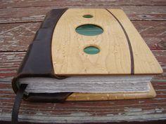 Custom Handmade Leather Journal and/or Wedding Photo Album with Birdseye Maple panels, Black Walnut inlay, Decorative Glass, and Hemp Paper