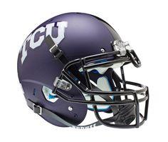 TCU Horned Frogs Schutt XP Authentic Full Size Helmet - Matte Purple Aquatech Alternate 2