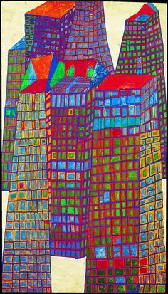 151 Bleeding Houses. Mixed media. Vienna, 1952 // Hundertwasser