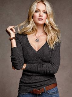 Cotton Thermal V-neck Sweater - Victoria's Secret ~want this in every color!!