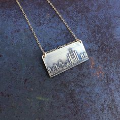 Columbus Ohio Skyline Necklace Columbus Skyline Pendant In Copper