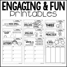 Spelling Practice---Over 37 printable activities perfect for any word list! Student brag tags and certificate included too!