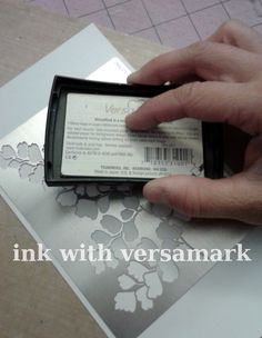 VersaMark through a stencil, then emboss. try it next Stamp Camp.this is a great idea for the new SU stencils Card Making Tips, Card Making Tutorials, Card Making Techniques, Making Ideas, Card Tricks, Scrapbooking Technique, Stampin Up Anleitung, Origami, Embossing Techniques