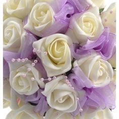 Ivory Foam Rose Lilac Ribbon Bridesmaids Wedding Posy Bouquet ❤ liked on Polyvore