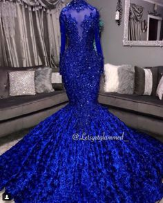 Royal Blue 3D Floral Flowers Mermaid Prom Dresses For Black Girls High Neck Lace Appliques Beaded Party Dress African Long Sleeve Evening Gowns,688 · Happybridal · Online Store Powered by Storenvy