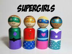Superhero Girls Peg Doll Set Wooden Block Accessory