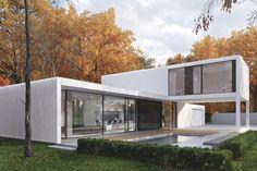 Wyjątkowy  biały pawilon projektu Pawła Lisa inspirowany jest budynkami realizowanymi w Stanach Zjednoczonych w  latach 60-tych w ramach programu Case Study Houses. Domy  w formie mocno przeszklonych pawilonów projektowali wówczas wybitni architekci tacy jak Eero Saarinen, Philip Johnson czy Richard
