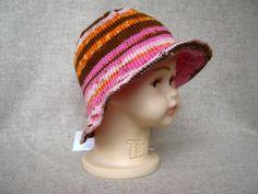 Sonnenhut für Mädchen Babys 3 bis 10 Mon. handgestrickt  40 bis 44 cm Kopfumfang, reine Baumwolle