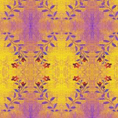 Flowers and Lace = purple, red, yellow serpentine pattern - materialsgirl - Spoonflower