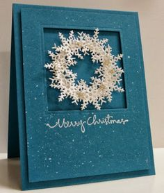 handmade Christmas card from Stamping with Loll. beautiful blue with a splattering of white . square window in popped up top layer .luv the delightful and lacy punched snowflake wreath . by megan Homemade Christmas Cards, Christmas Cards To Make, Xmas Cards, Christmas Greetings, Homemade Cards, Handmade Christmas, Christmas Crafts, Merry Christmas Love, Blue Christmas