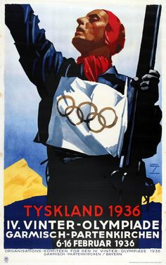 For Sale on - Original Vintage IV Winter Olympic Games Skiing Poster For Tyskland Germany Paper by Ludwig Hohlwein. Offered by Antikbar Limited. Winter Olympic Games, Winter Games, Winter Olympics, 1936 Olympics, Berlin Olympics, Vintage Advertisements, Vintage Ads, Vintage Sport, Berlin
