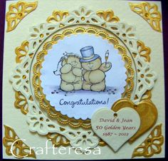 Golden Wedding Anniversary Personalised Luxury Handmade Card hearts & Cute Bears beautiful. £4.99, via Etsy.
