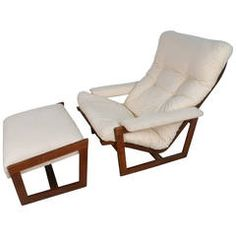Unique Mid-Century Modern Teak Frame Lounge Chair with Ottoman