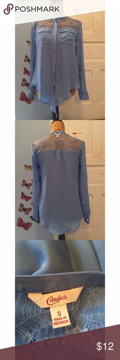 Candies Periwinkle Lacey Blouse Measurements - Bust 18in / Length 27in Has two tails in the front. Buttons up. In beautiful condition. Candie's Tops Blouses