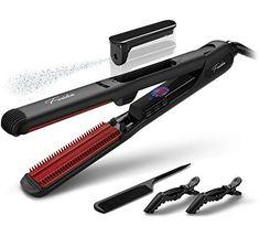 Fer à Lisser Vapeur, Lisseur Cheveux Boucler Repasser Professionnel en Céramique avec 5D Dents Chauffantes Salon Double Tension pour…