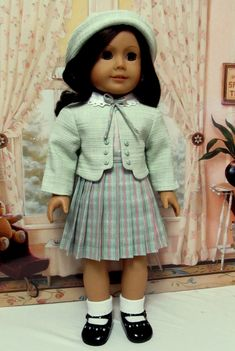 1930's Four piece Set Made for American Girl Doll Ruthie or Kit.   Pretty mint green linen/cotton blend